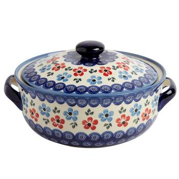 Polish Pottery Multicolor Flowers Round Covered Serving Dish