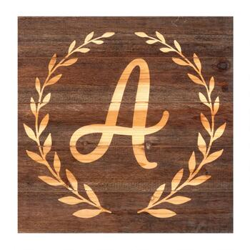 "18"" Wood Monogram Crest Wall Hanging Sign"