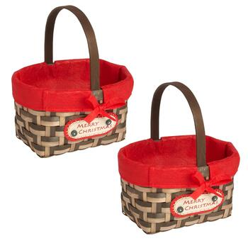 """Merry Christmas"" Woven Gift Baskets, Set of 2"