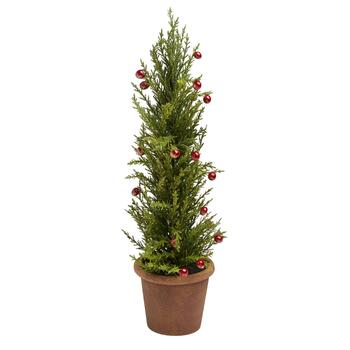 Potted Christmas Tree.22 Miniature Artificial Potted Christmas Tree With Berries