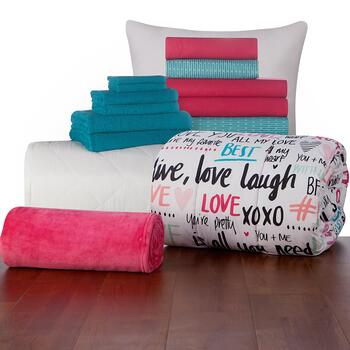 Twin XL Sabine Love Typography Comforter Set, 16 Piece view 2 view 3