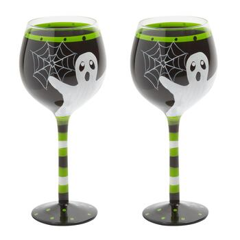 """More Boos Please!"" Hand-Painted Wine Glasses, Set of 2"