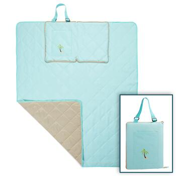 Aqua/Tan Palm Tree Foldable Outdoor Blanket Tote