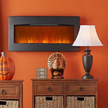 Wall-Mount Fireplace & Lamps