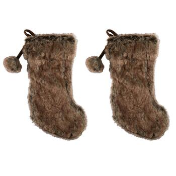 Faux Fur Christmas Stockings with Pom-Pom, Set of 2