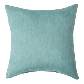 Solid Blue Woven Indoor/Outdoor Square Pillow with Buttons view 2