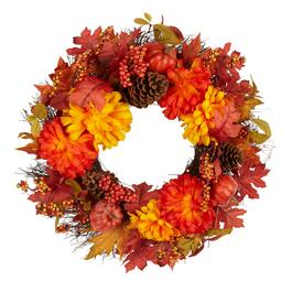 "21"" Orange/Yellow Chrysanthemum Pumpkin Wreath"