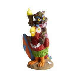 "15.75"" Tiki and Parrot Solar Statue"