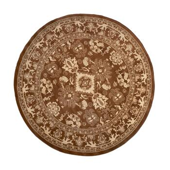 8' Brown Damask Round Area Rug