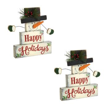 "9.25"" ""Happy Holidays"" Snowman Wood Block Shelf Sitters, Set of 2"