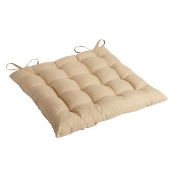 Solid Beige Indoor/Outdoor Tufted Square Seat Pad