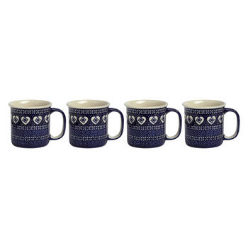 Polish Pottery Blue Hearts Can Mugs, Set of 4 view 1