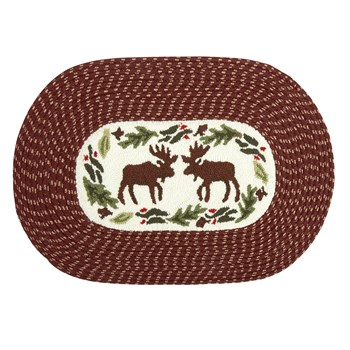 Moose Braided Oval Accent Rug