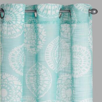 Seafoam Medallion Slub Window Curtains, Set of 2