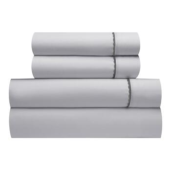 Gray Sheet Set with Scallop Trim