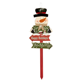 """Let it Snow"" Snowman Wood Stake view 1"
