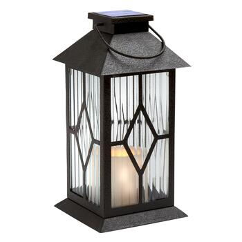 Diamond Panel Solar LED Candle Lantern