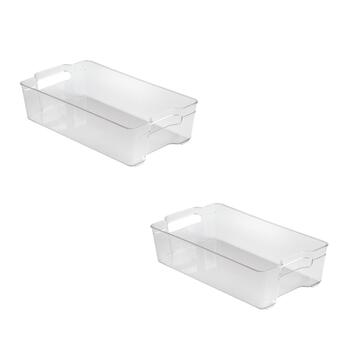 "8""x14"" Clear Refrigerator Bins, Set of 2"