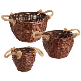 The Grainhouse™ Willow Rope Handle Round Basket