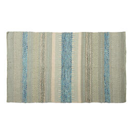 "27""x45"" Cream/Blue Wavy Stripes Handwoven Dhurrie Accent Rug view 1"