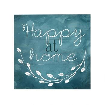 "The Grainhouse™ 20"" ""Happy At Home"" Wood Plank Wall Decor"