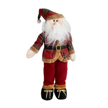 "28"" Red/Tan Plaid Suit Standing Santa"