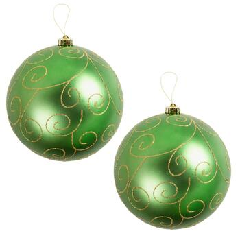 "9"" Green Glitter Scroll Ornaments, Set of 2"