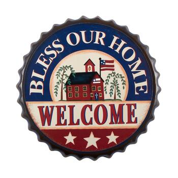 "13.75"" ""Welcome"" Bottle Cap Wall Hanger"