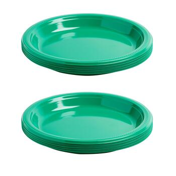 "10"" Plastic Green 18-Count Plates, Set of 2"