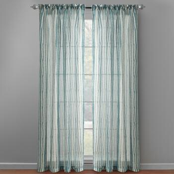 "84"" Sheer Striped Rod Pocket Window Panel Pair"