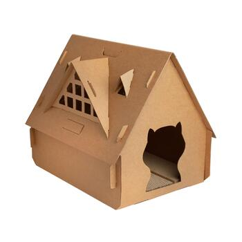 "18.25"" Water-Resistant Cardboard Cat House"