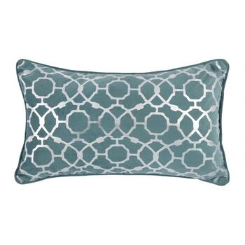 Blue Geometric Embellished Oblong Throw Pillow