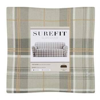 Surefitreg Gray Highland Plaid Sofa Slipcover