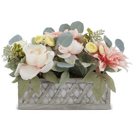 Petal and Stone™ Dahlia & Rose Pink Yellow Centerpiece view 1