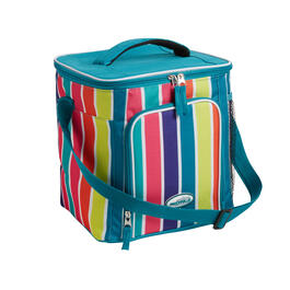 Teal Stripe 18-Can Cooler with Strap view 1