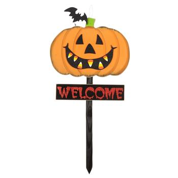 "38"" Orange ""Welcome"" Jack-o-Lantern Wood Garden Stake"