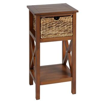 "29"" Manor Honeynut 1-Basket Plank Top Accent Table"