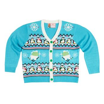 Penguins and Polar Bears Ugly Holiday Cardigan