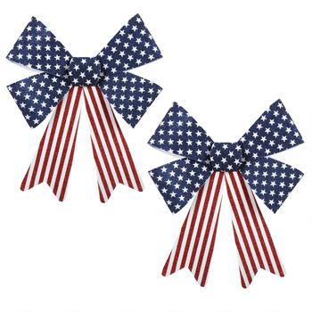 "17"" American Flag Bows, Set of 2"