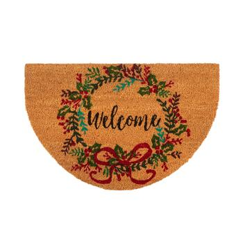 "18""x28"" ""Welcome"" Holiday Wreath Slice Coir Mat"