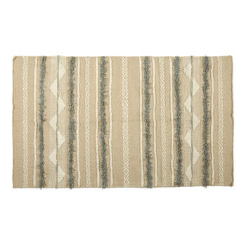 "27""x45"" Beige Stripes Handwoven Dhurrie Accent Rug view 1"
