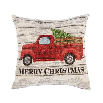 "16"" ""Merry Christmas"" Truck Square Throw Pillow"