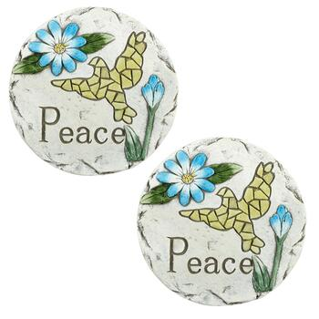 "7"" ""Peace"" Glowing Dove Stepping Stones, Set of 2"
