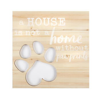 "20"" ""Not a Home Without Paw Prints"" Square Wood Pallet Wall Decor view 1"