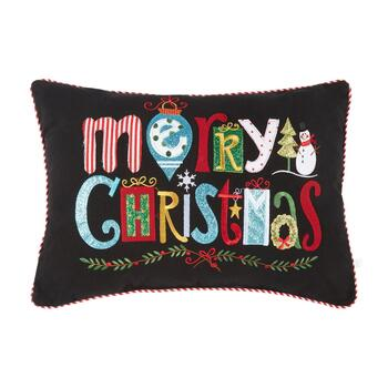 """Merry Christmas"" Glitter Icons Oblong Throw Pillow"