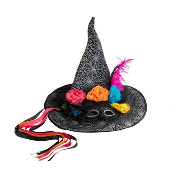 "19"" Floral Day of the Dead Witch's Hat"