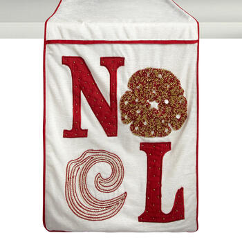 """Noel"" Beaded Coral Table Runner view 1"