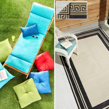 Indoor/Outdoor Cushions & Reversible Patio Mats