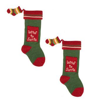 Letter Christmas Stockings.Knitted Letter To Santa Christmas Stockings Set Of 2