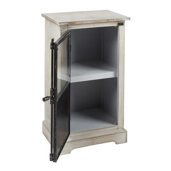 White Wood/Metal 1-Door Storage Cabinet view 2